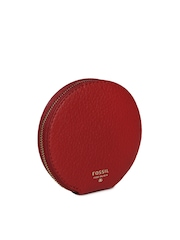 Fossil Women Red Cowhide Leather Coin Purse
