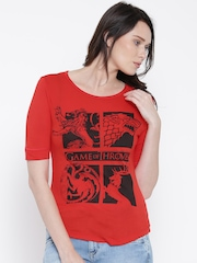 Game Of Thrones Women Red Printed Round Neck T-shirt