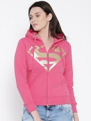 DC Comics Pink Superman Print Hooded Sweatshirt
