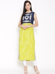 W Women Lime Green Printed Straight Kurta