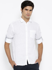 Celio Men White Solid Linen Casual Shirt