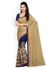 Ishin Navy & Beige Poly Georgette Printed Saree