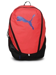 Puma Women Coral Red & Black Cat Backpack