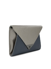 Caprese Gunmetal-Toned & Navy Audrey Colourblocked Clutch