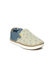 Boltio Boys Beige Colourblock Slip-On Sneakers