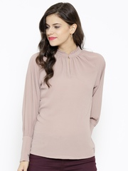 SASSAFRAS Women Beige Georgette Textured Top