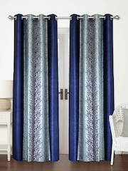 Home Sizzler Blue Set Of 2 Printed Door Curtains