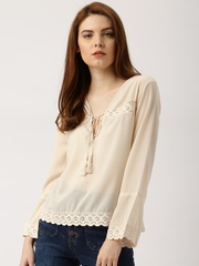 all about you by Deepika Padukone Women Beige Lace Top