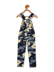 Cherry Crumble Boys Blue Camouflage Print Dungarees