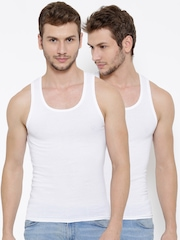 United Colors of Benetton Pack of 2 White Innerwear Vests 006DI