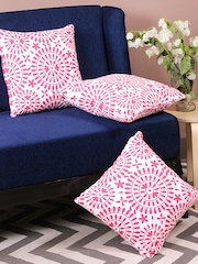 TEZERAC White & Pink Set of 3 Printed 18'' x 18'' Square Cushion Covers