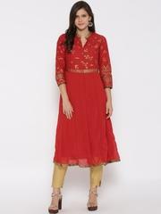 Biba Women Red Printed Anarkali Kurta