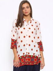 Melange by Lifestyle Women Light Cream-Coloured Printed Kurti