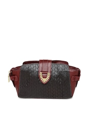 Hidesign Brown & Maroon Handcrafted Patterned Leather Clutch