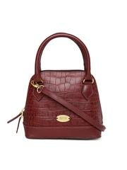 Hidesign Maroon Handcrafted Patterned Leather Handbag