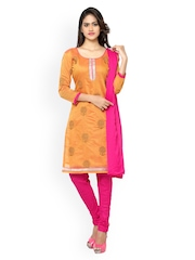 Silk Bazar	 Pink & Orange Embroidered Chanderi Cotton Unstitched Dress Material