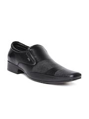 Lee Cooper Men Black Genuine Leather Formal Slip-Ons