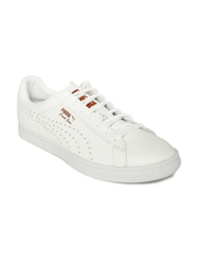 Puma Unisex White Perforated Court Star Gold Leather Casual Shoes