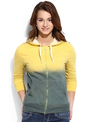 Campus Sutra Yellow & Blue Ombre-Dyed Hooded Sweatshirt