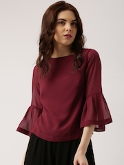 all about you Women Burgundy Solid Top