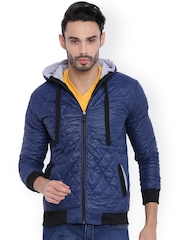 Campus Sutra Blue Hooded Quilted Jacket
