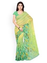Vaamsi Yellow & Green Chiffon Floral Print Saree