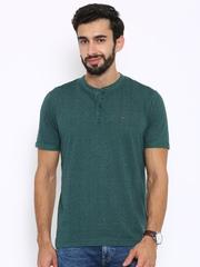 Indian Terrain Men Teal Green & Navy Printed T-shirt