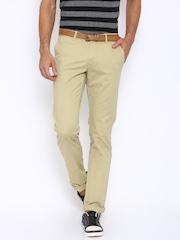 Indian Terrain Men Beige Solid Brooklyn Slim Fit Chino Trousers