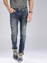 Levis Men Blue Highly-Distressed Jeans
