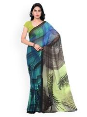 Colors Blue & Black Checked Chiffon Printed Saree