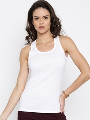 United Colors of Benetton Women White Solid Tank Top