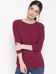 United Colors of Benetton Women Wine-Coloured Patterned Sweater