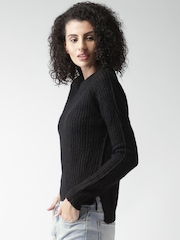 ALCOTT Women Black Self-Design Sweater