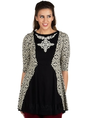 Fusion Beats Black & Cream-Coloured Printed A-Line Tunic