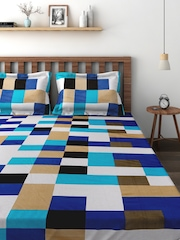 Cortina Blue Cotton 220 TC Fine Double Bedsheet with 2 Pillow Covers