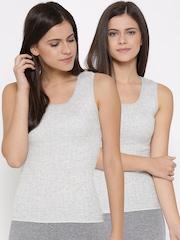 Marks & Spencer Women Pack of 2 Grey Melange Thermal Tops