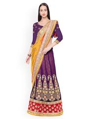 Triveni Purple & Yellow Embroidered Jacquard & Net Lehenga-Style Embellished Saree
