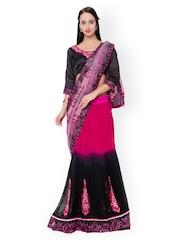 Triveni Magenta & Black Embroidered Net Lehenga-Style Embellished Saree