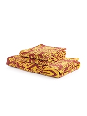 Turkish Bath Yellow & Brown Set of 3 Printed Cotton 410 GSM Towels