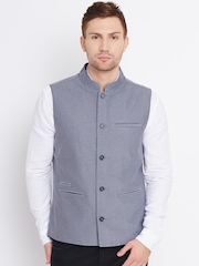 United Colors of Benetton Grey Chambray Nehru Jacket