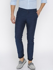 United Colors of Benetton Men Navy Blue Self-Design Slim Fit Flat-Front Trousers
