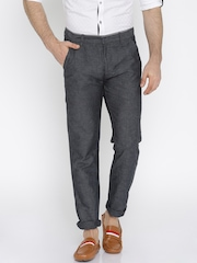United Colors of Benetton Men Grey Self-Design Slim Fit Flat-Front Trousers