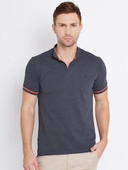 United Colors of Benetton Men Charcoal Grey Solid Polo Collar T-Shirt