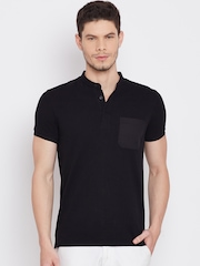United Colors of Benetton Men Black Solid Mandarin Collar T-Shirt