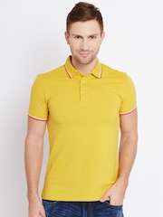 United Colors of Benetton Men Mustard Yellow Solid Polo Collar T-Shirt