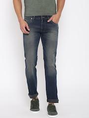 Wrangler Men Blue Skanders Fit Mid-Rise Clean Look Jeans