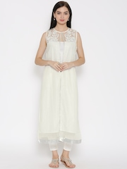 W Women White Shimmer Printed Sleeveless Ethnic Jacket