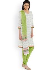 pinkshink White & Green Block Print Cotton Unstitched Dress Material