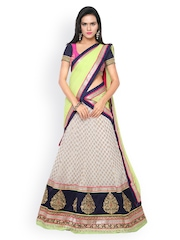 Touch Trends Off-White Georgette & Jacquard Semi-Stitched Lehenga Choli with Dupatta