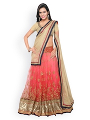 Touch Trends Beige & Pink Net Semi-Stitched Lehenga Choli with Dupatta